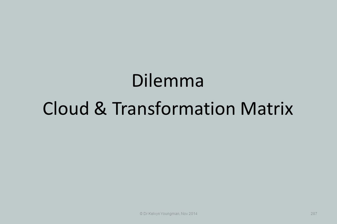 © Dr Kelvyn Youngman, Nov 2014287 Dilemma Cloud & Transformation Matrix
