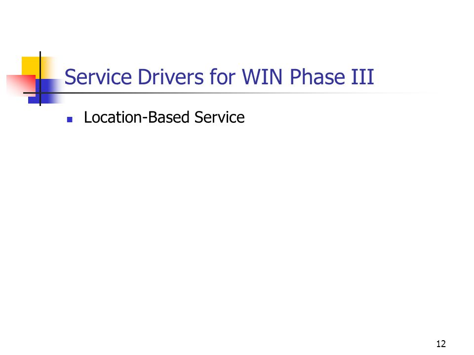 12 Service Drivers for WIN Phase III Location-Based Service