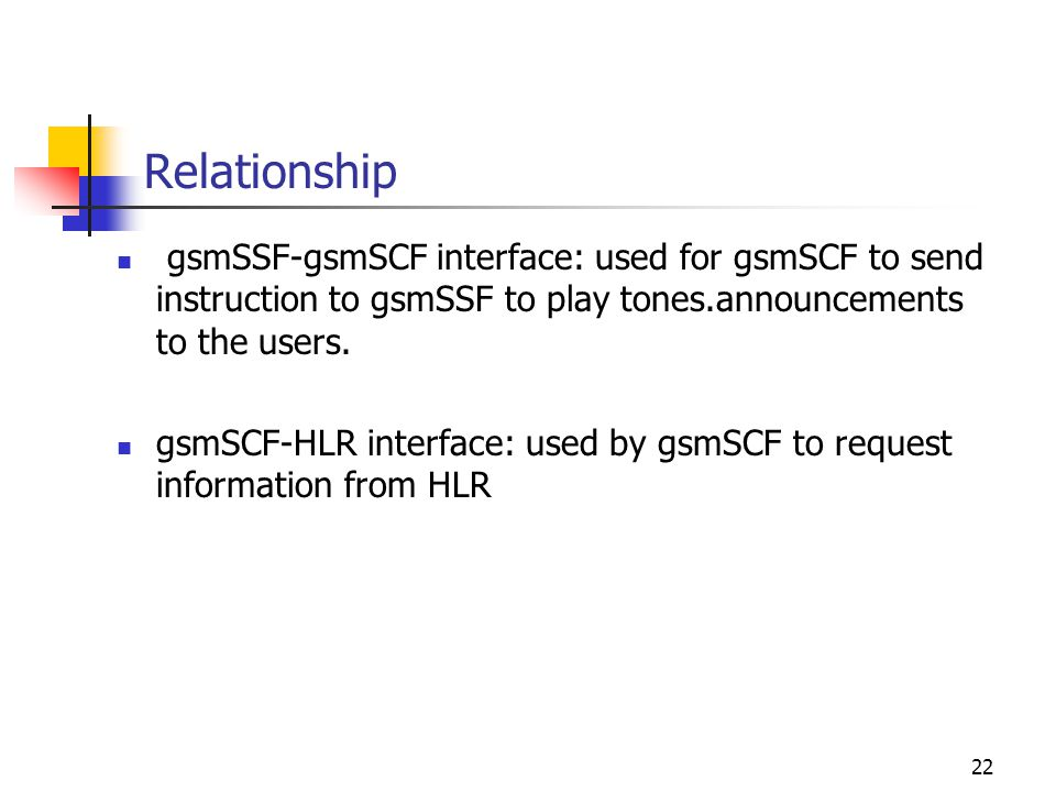 22 Relationship gsmSSF-gsmSCF interface: used for gsmSCF to send instruction to gsmSSF to play tones.announcements to the users.