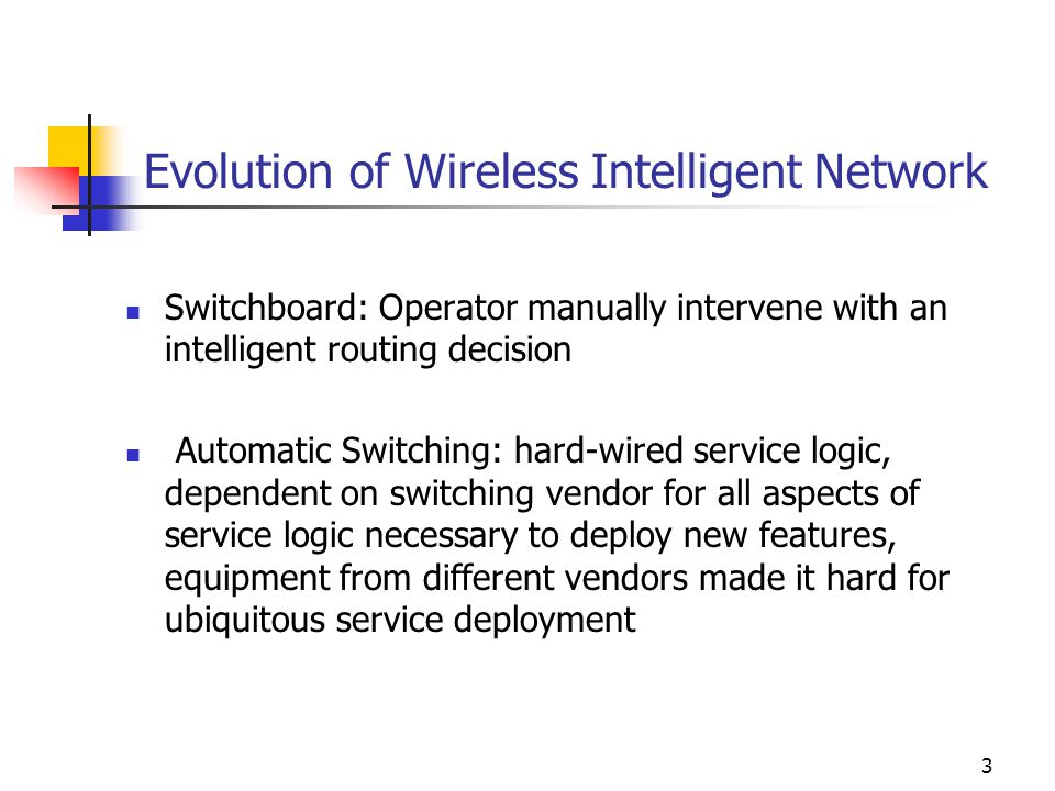 3 Evolution of Wireless Intelligent Network Switchboard: Operator manually intervene with an intelligent routing decision Automatic Switching: hard-wired service logic, dependent on switching vendor for all aspects of service logic necessary to deploy new features, equipment from different vendors made it hard for ubiquitous service deployment