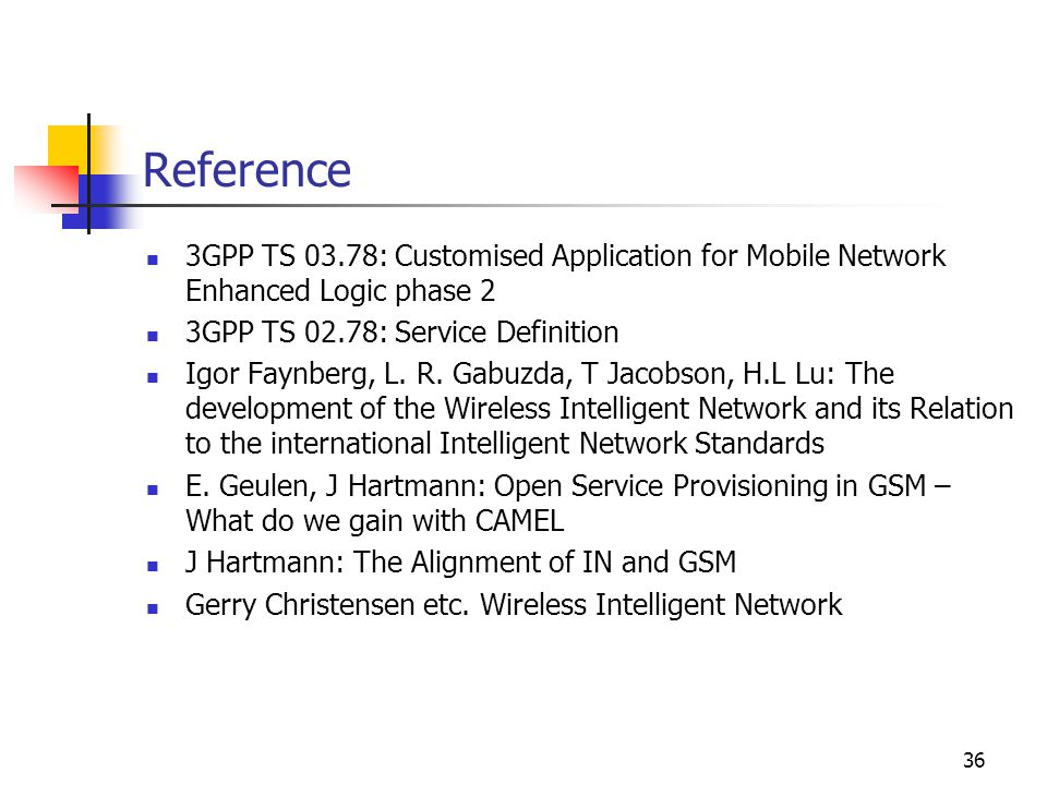 36 Reference 3GPP TS 03.78: Customised Application for Mobile Network Enhanced Logic phase 2 3GPP TS 02.78: Service Definition Igor Faynberg, L.