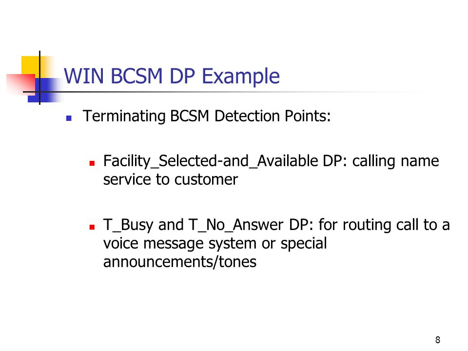 8 WIN BCSM DP Example Terminating BCSM Detection Points: Facility_Selected-and_Available DP: calling name service to customer T_Busy and T_No_Answer DP: for routing call to a voice message system or special announcements/tones