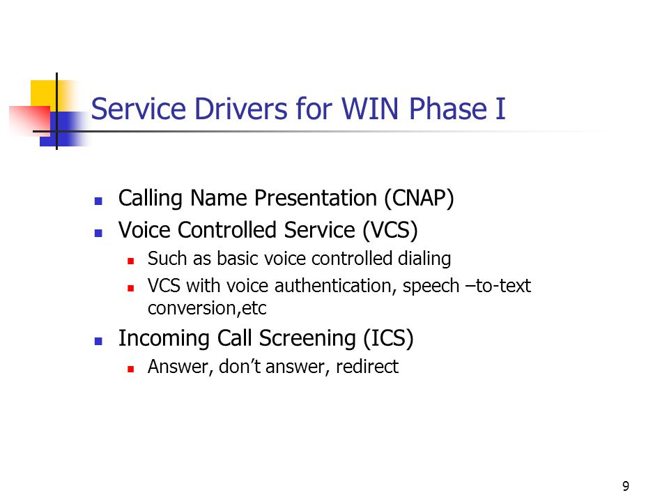 9 Service Drivers for WIN Phase I Calling Name Presentation (CNAP) Voice Controlled Service (VCS) Such as basic voice controlled dialing VCS with voice authentication, speech –to-text conversion,etc Incoming Call Screening (ICS) Answer, don't answer, redirect