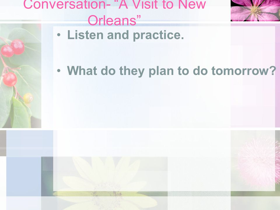 Conversation- A Visit to New Orleans Listen and practice. What do they plan to do tomorrow?