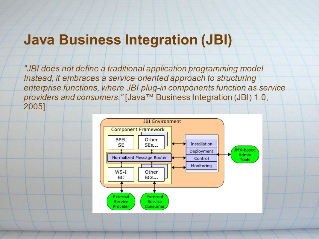 Java Business Integration (JBI) JBI does not define a traditional application programming model.