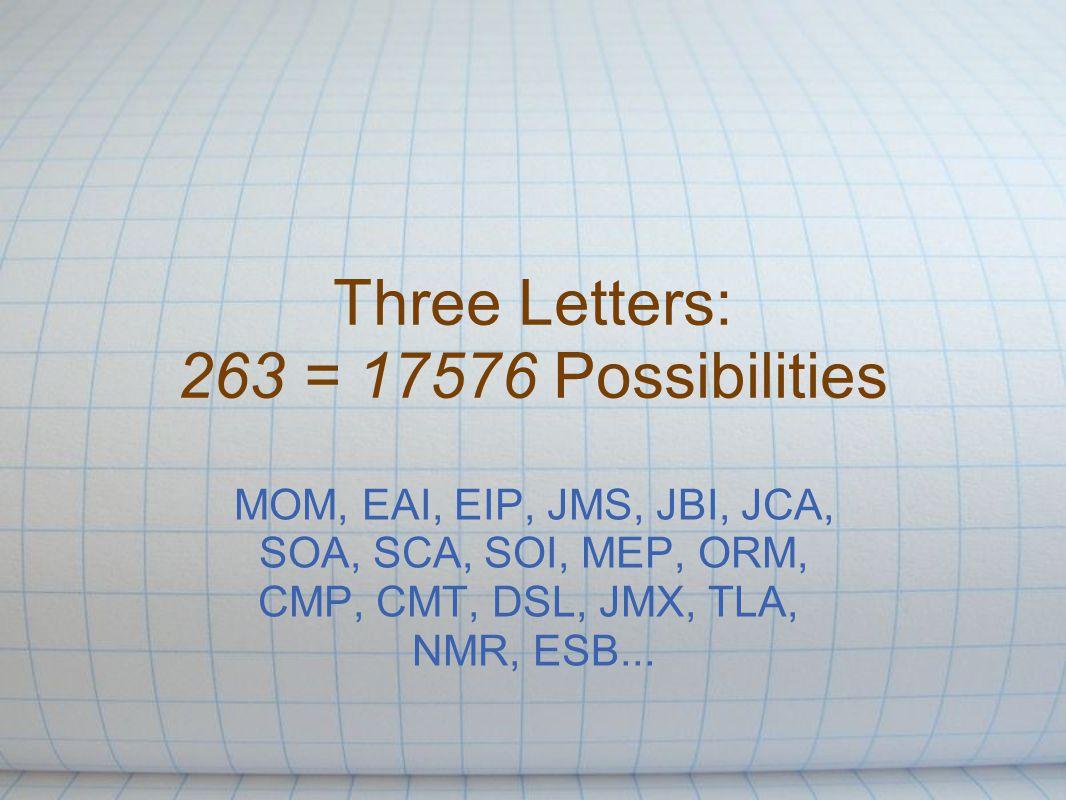 Three Letters: 263 = 17576 Possibilities MOM, EAI, EIP, JMS, JBI, JCA, SOA, SCA, SOI, MEP, ORM, CMP, CMT, DSL, JMX, TLA, NMR, ESB...