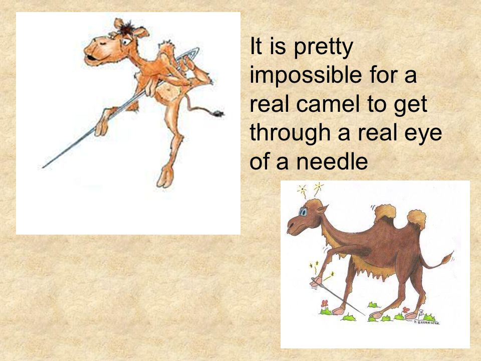 Either the camel is too big or the eye of the needle too small.