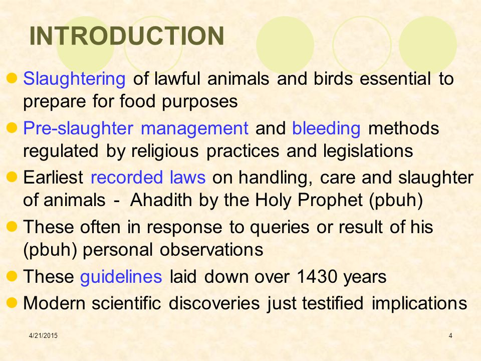 4/21/20155 ESSENTIALS OF ISLAMIC METHOD OF SLAUGHTERING Islamic method of slaughtering - based on two important principles:  Tasmiya  Tazkiyah Tasmiya refers to invoking name of Allah  means slaughter being done with His permission This in accordance with several commands given in the Holy Quran