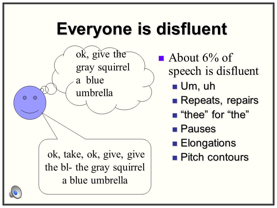 Everyone is disfluent About 6% of speech is disfluent Um, uh Um, uh Repeats, repairs Repeats, repairs thee for the thee for the Pauses Pauses Elongations Elongations Pitch contours Pitch contours ok, give the gray squirrel a blue umbrella ok, take, ok, give, give the bl- the gray squirrel a blue umbrella
