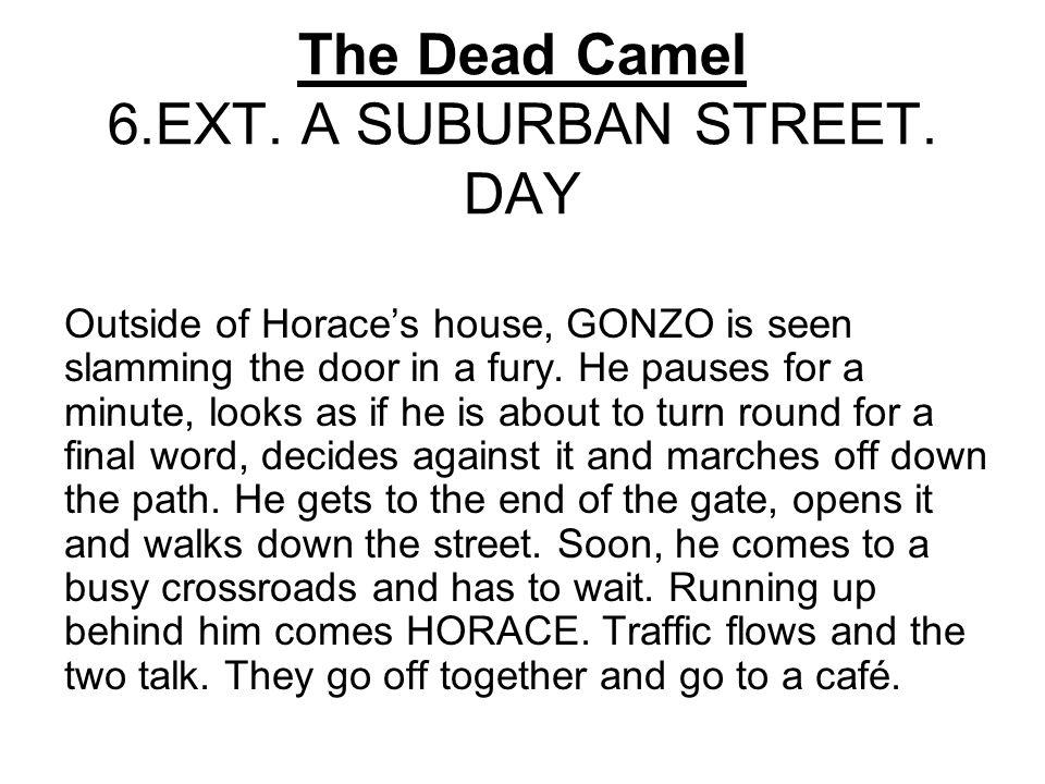 The Dead Camel 6.EXT. A SUBURBAN STREET.
