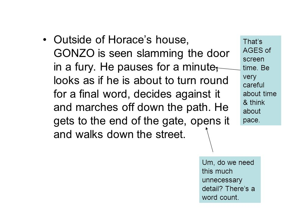 Outside of Horace's house, GONZO is seen slamming the door in a fury.
