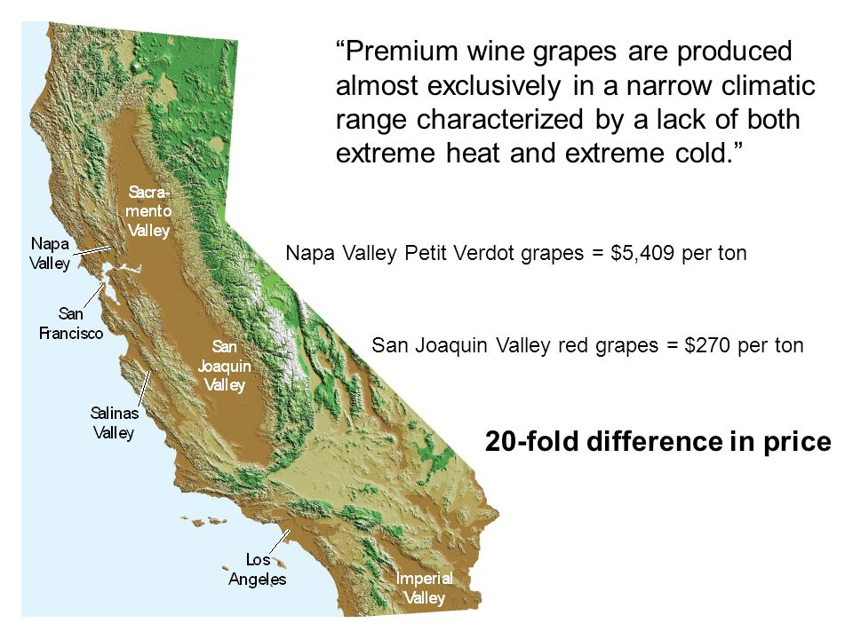 Napa Valley Petit Verdot grapes = $5,409 per ton San Joaquin Valley red grapes = $270 per ton 20-fold difference in price Premium wine grapes are produced almost exclusively in a narrow climatic range characterized by a lack of both extreme heat and extreme cold.