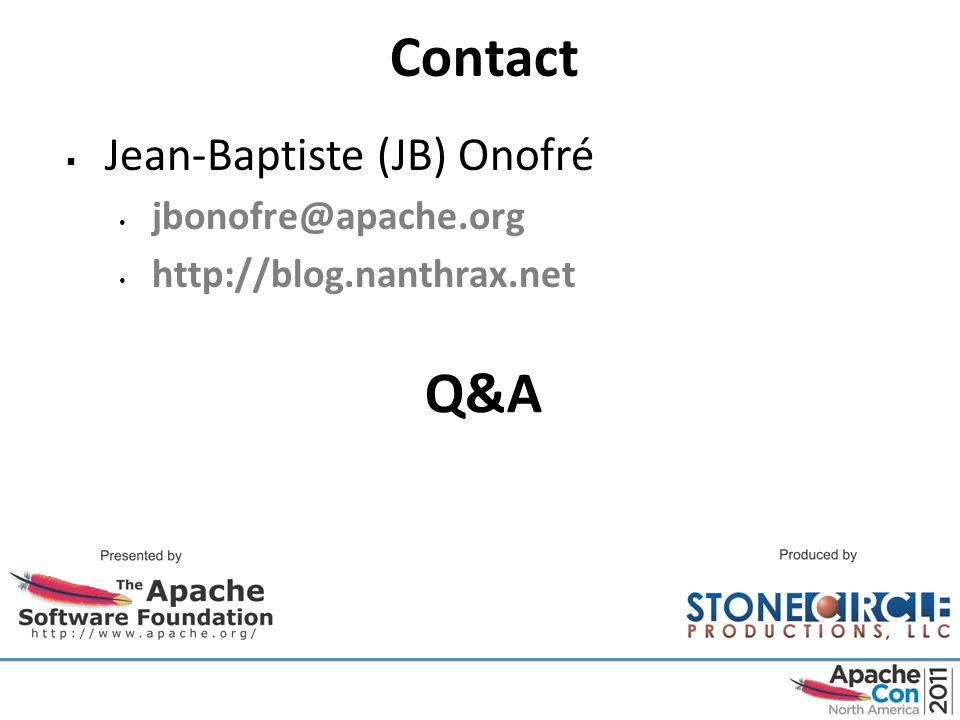 Contact  Jean-Baptiste (JB) Onofré jbonofre@apache.org http://blog.nanthrax.net Q&A
