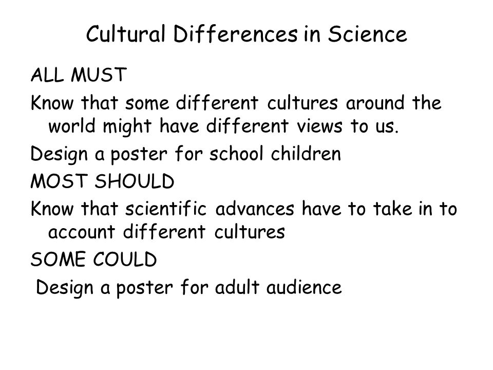 Cultural Differences in Science ALL MUST Know that some different cultures around the world might have different views to us.