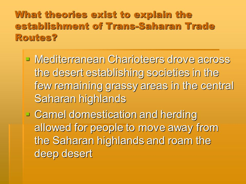 What theories exist to explain the establishment of Trans-Saharan Trade Routes.