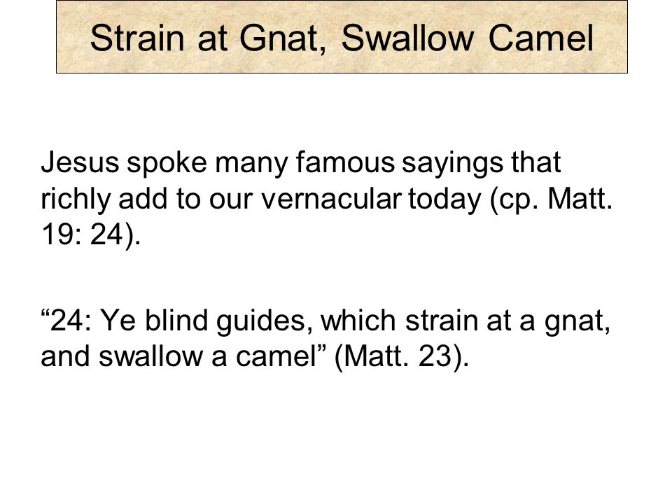 Strain at Gnat, Swallow Camel …the reference here is to the ancient custom of filtering wine.