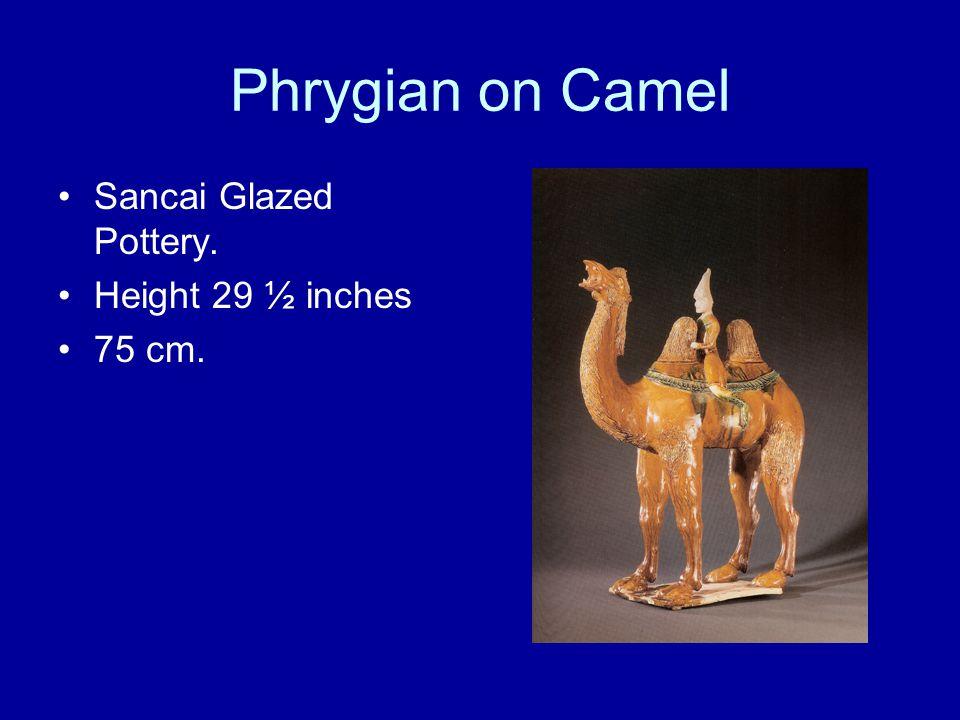 Phrygian on Camel Sancai Glazed Pottery. Height 29 ½ inches 75 cm.