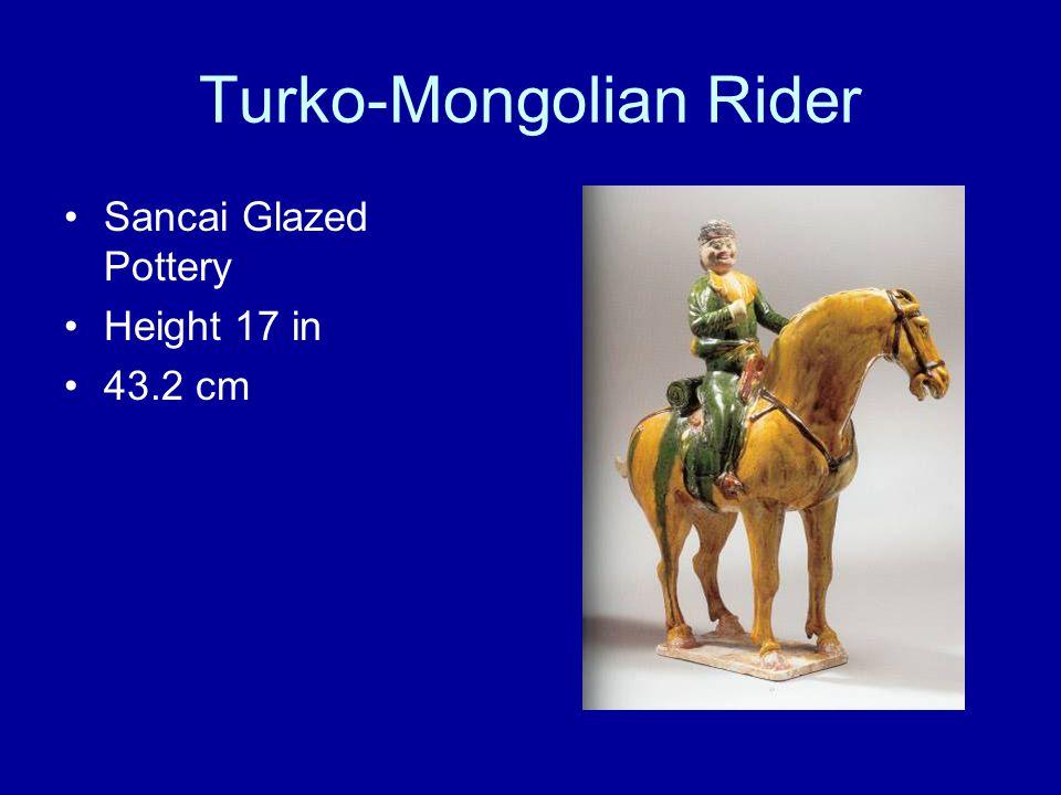 Turko-Mongolian Rider Sancai Glazed Pottery Height 17 in 43.2 cm