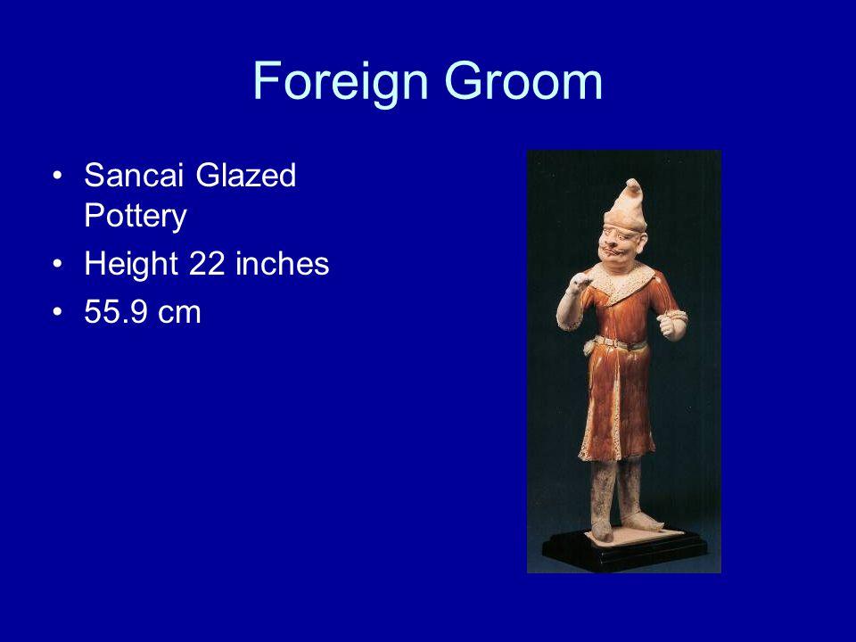 Foreign Groom Sancai Glazed Pottery Height 22 inches 55.9 cm