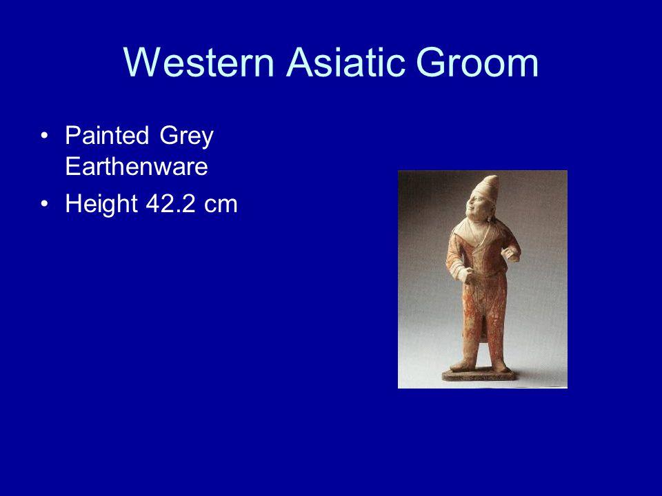 Western Asiatic Groom Painted Grey Earthenware Height 42.2 cm