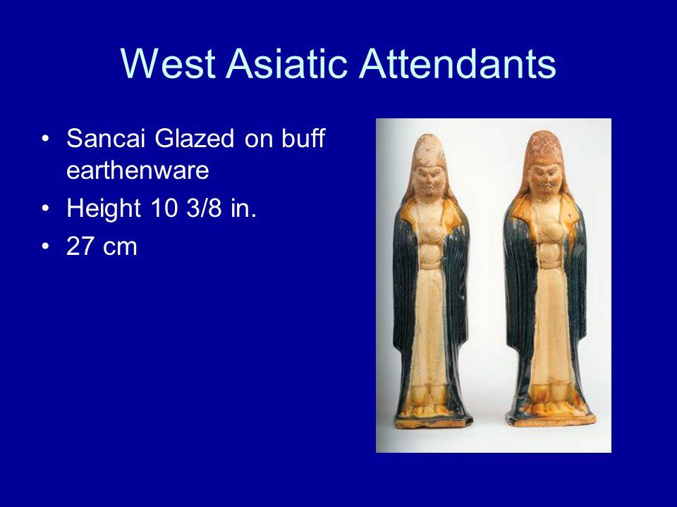 West Asiatic Attendants Sancai Glazed on buff earthenware Height 10 3/8 in. 27 cm