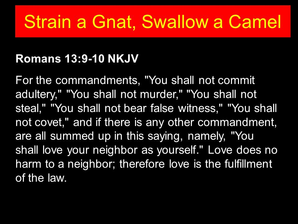 Romans 13:9-10 NKJV For the commandments, You shall not commit adultery, You shall not murder, You shall not steal, You shall not bear false witness, You shall not covet, and if there is any other commandment, are all summed up in this saying, namely, You shall love your neighbor as yourself. Love does no harm to a neighbor; therefore love is the fulfillment of the law.