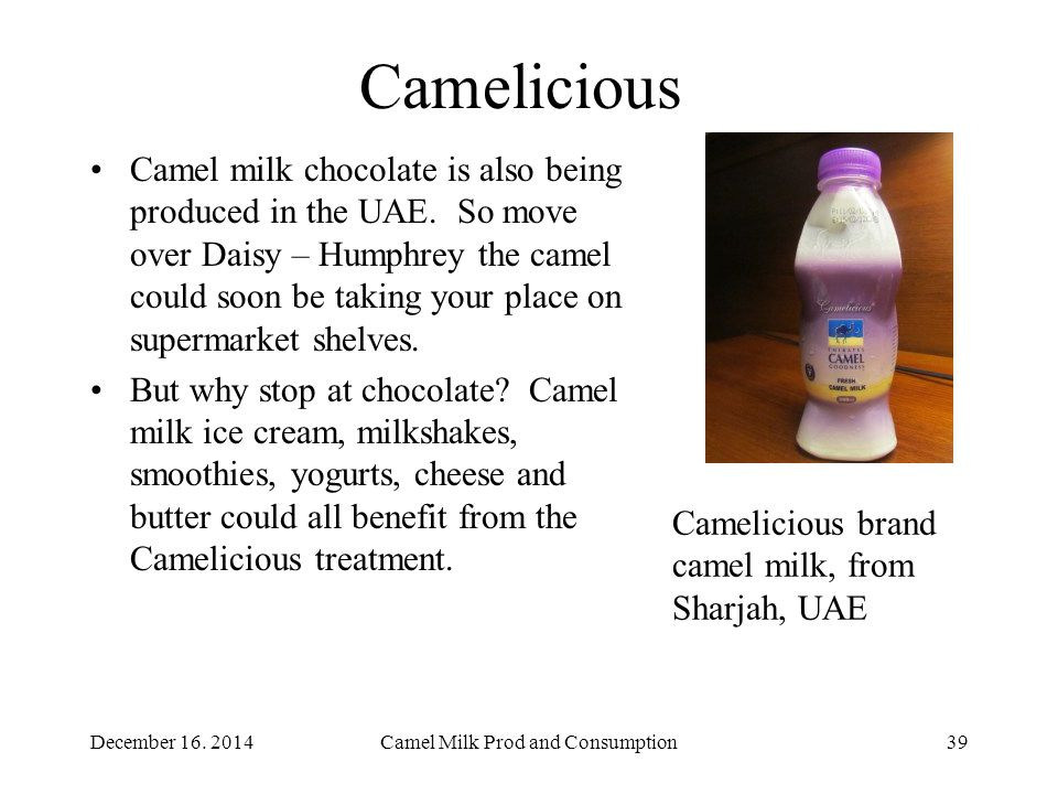 Camelicious Camel milk chocolate is also being produced in the UAE.