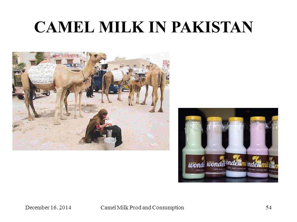 Camel Milk Prod and Consumption54 CAMEL MILK IN PAKISTAN December 16. 2014