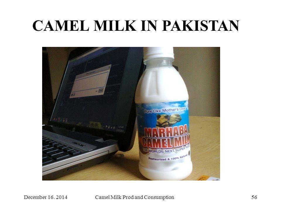 Camel Milk Prod and Consumption56 CAMEL MILK IN PAKISTAN December 16. 2014