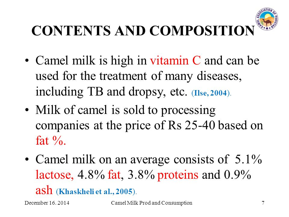 CONTENTS AND COMPOSITION Camel milk is high in vitamin C and can be used for the treatment of many diseases, including TB and dropsy, etc.
