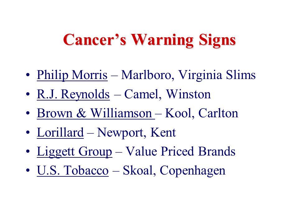 Cancer's Warning Signs Philip Morris – Marlboro, Virginia Slims R.J. Reynolds – Camel, Winston Brown & Williamson – Kool, Carlton Lorillard – Newport,