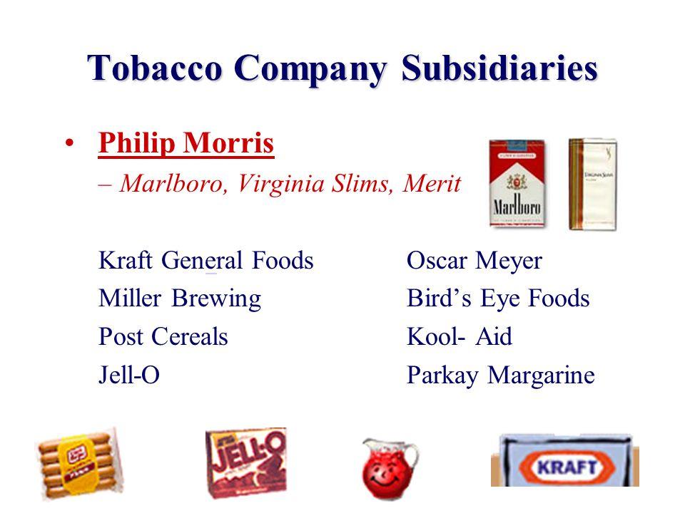 Tobacco Company Subsidiaries Philip Morris –Marlboro, Virginia Slims, Merit Kraft General FoodsOscar Meyer Miller BrewingBird's Eye Foods Post Cereals