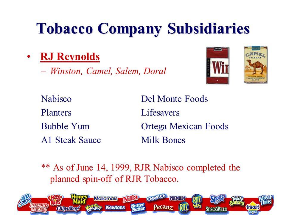 Tobacco Company Subsidiaries RJ Reynolds –Winston, Camel, Salem, Doral NabiscoDel Monte Foods PlantersLifesavers Bubble YumOrtega Mexican Foods A1 Ste