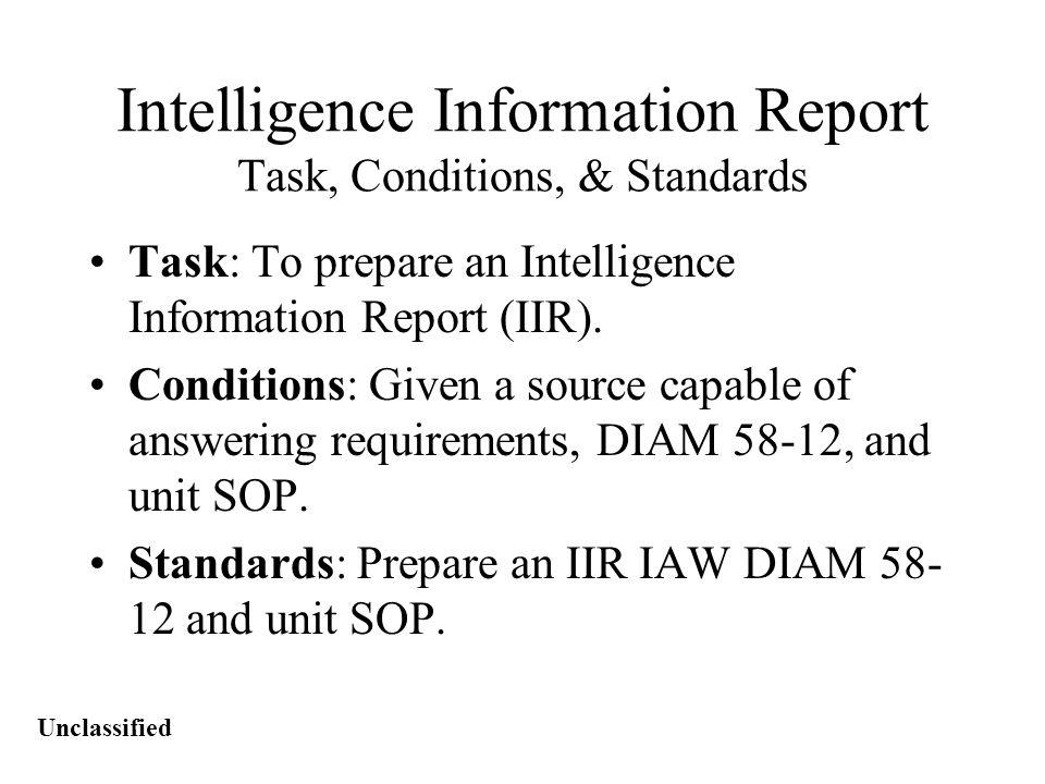Unclassified Overview IIR Format IIR Hints