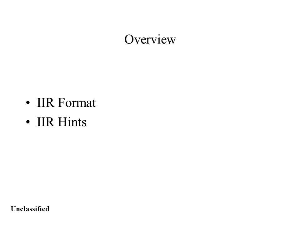 Unclassified IIR Format *CITE: –CITE: (U) SMID-9001-00.