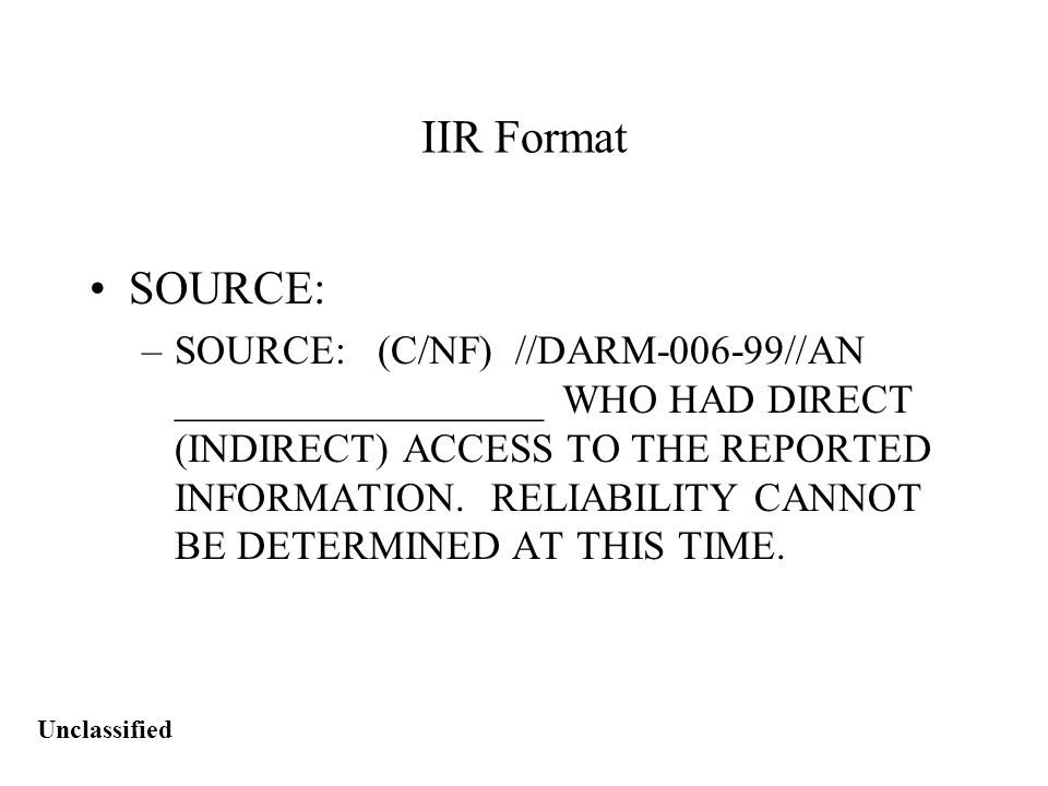 Unclassified IIR Hints - Do's & Don'ts Catch All Phrases Source Said...