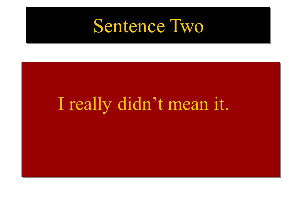 Sentence Two I really didn't mean it. I really didn't mean it.