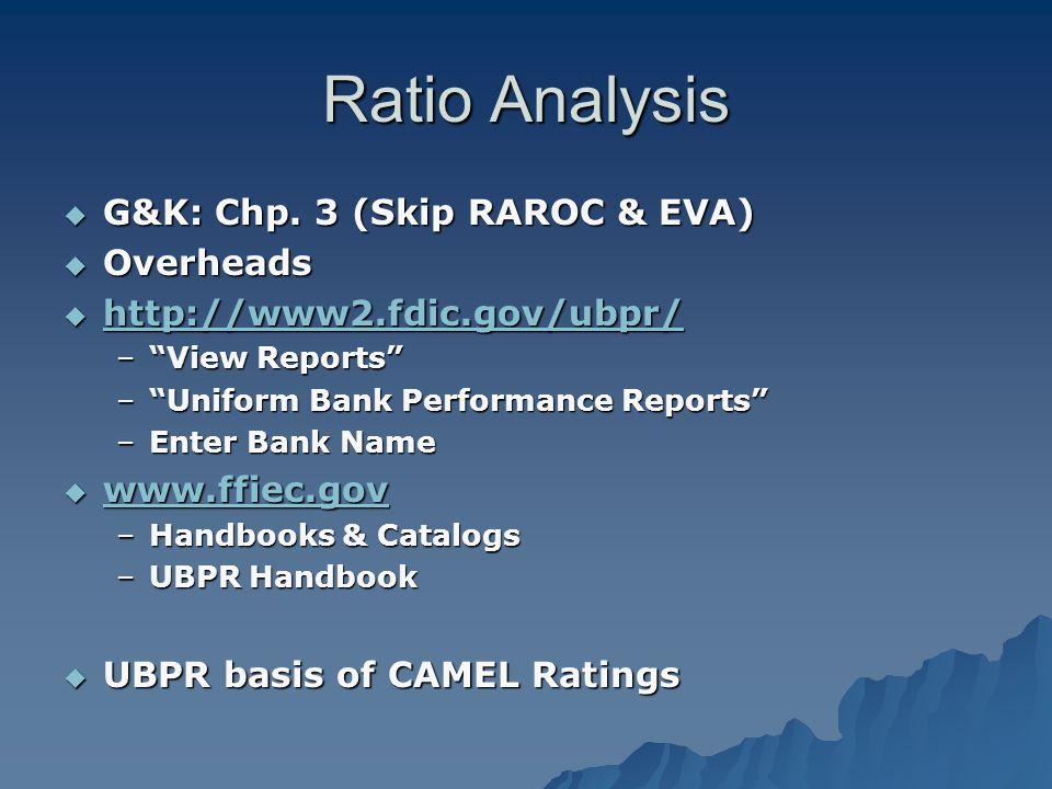 "Ratio Analysis  G&K: Chp. 3 (Skip RAROC & EVA)  Overheads  http://www2.fdic.gov/ubpr/ http://www2.fdic.gov/ubpr/ –""View Reports"" –""Uniform Bank Per"