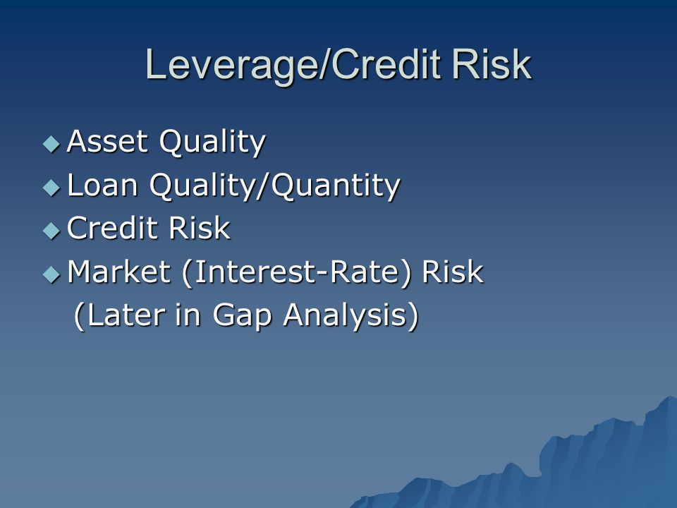 Leverage/Credit Risk  Asset Quality  Loan Quality/Quantity  Credit Risk  Market (Interest-Rate) Risk (Later in Gap Analysis) (Later in Gap Analysi
