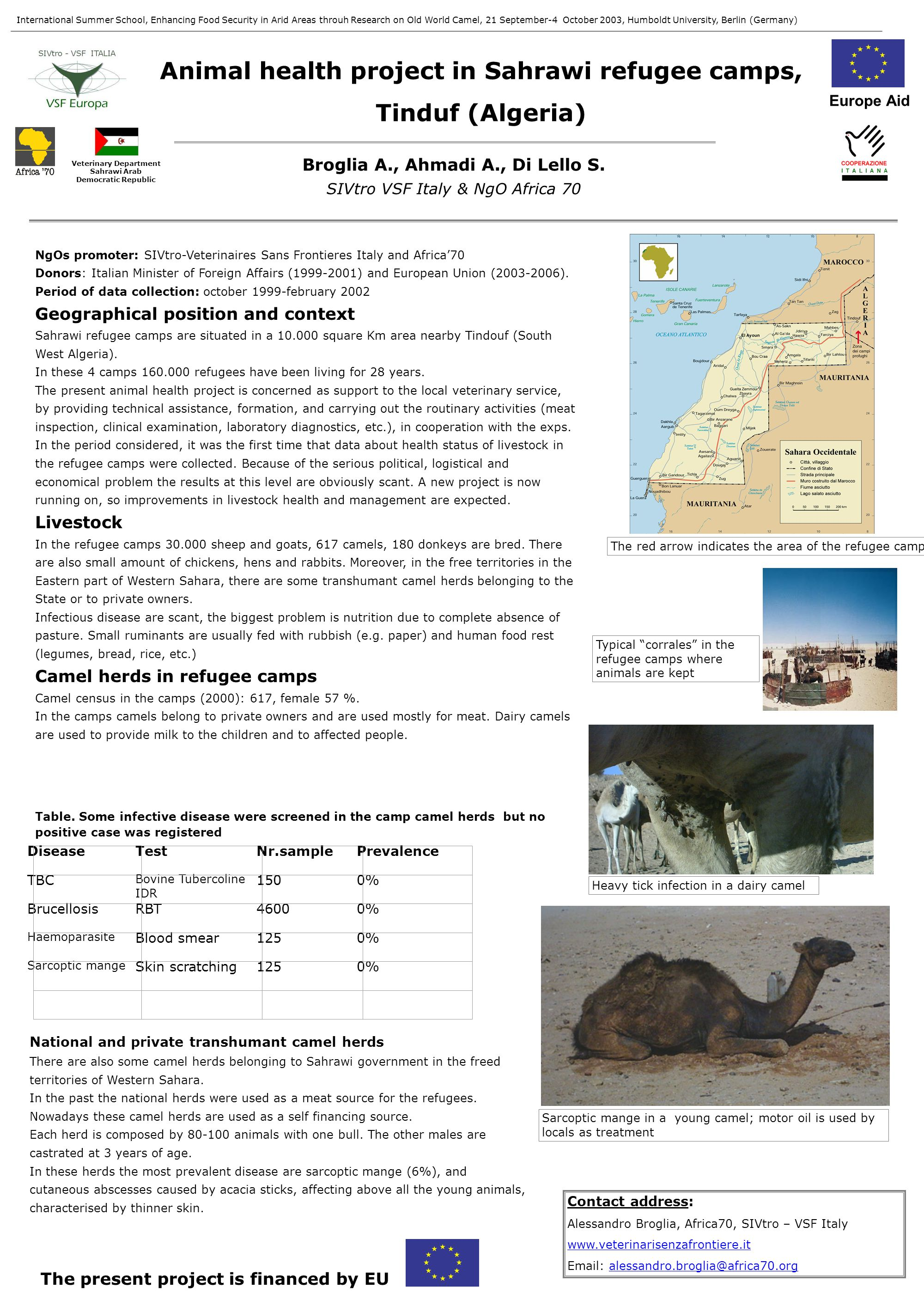 Animal health project in Sahrawi refugee camps, Tinduf (Algeria) NgOs promoter: SIVtro-Veterinaires Sans Frontieres Italy and Africa'70 Donors: Italian Minister of Foreign Affairs (1999-2001) and European Union (2003-2006).