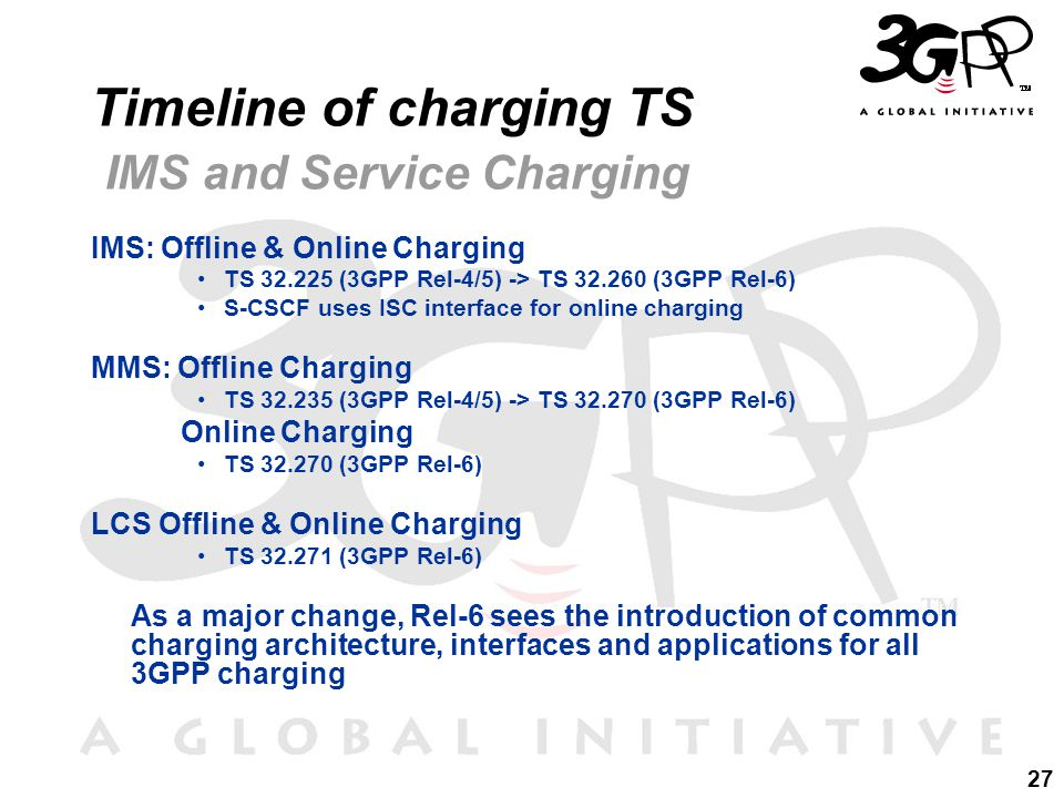 27 Timeline of charging TS IMS and Service Charging IMS: Offline & Online Charging TS 32.225 (3GPP Rel-4/5) -> TS 32.260 (3GPP Rel-6) S-CSCF uses ISC interface for online charging MMS: Offline Charging TS 32.235 (3GPP Rel-4/5) -> TS 32.270 (3GPP Rel-6) Online Charging TS 32.270 (3GPP Rel-6) LCS Offline & Online Charging TS 32.271 (3GPP Rel-6) As a major change, Rel-6 sees the introduction of common charging architecture, interfaces and applications for all 3GPP charging