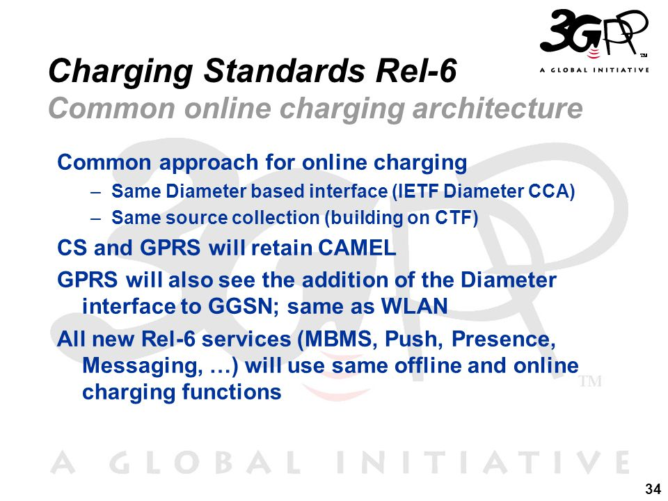 34 Charging Standards Rel-6 Common online charging architecture Common approach for online charging –Same Diameter based interface (IETF Diameter CCA) –Same source collection (building on CTF) CS and GPRS will retain CAMEL GPRS will also see the addition of the Diameter interface to GGSN; same as WLAN All new Rel-6 services (MBMS, Push, Presence, Messaging, …) will use same offline and online charging functions