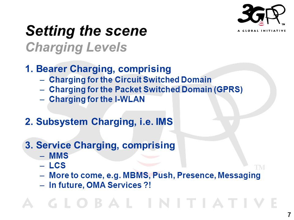 7 Setting the scene Charging Levels 1.Bearer Charging, comprising –Charging for the Circuit Switched Domain –Charging for the Packet Switched Domain (GPRS) –Charging for the I-WLAN 2.Subsystem Charging, i.e.