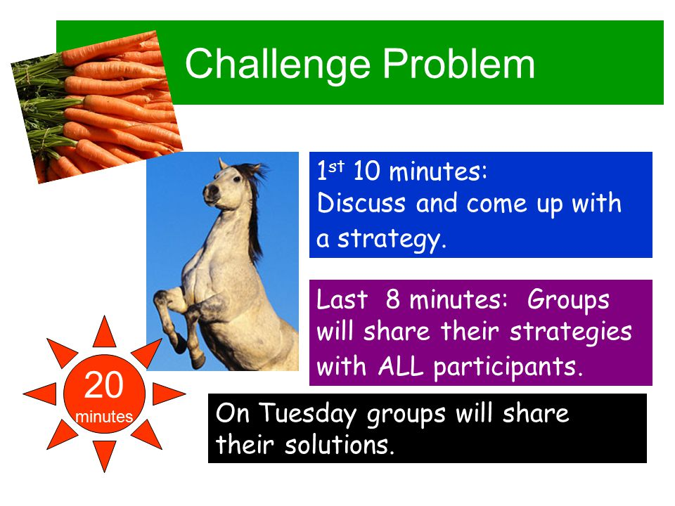 Challenge Problem 20 minutes 1 st 10 minutes: Discuss and come up with a strategy.