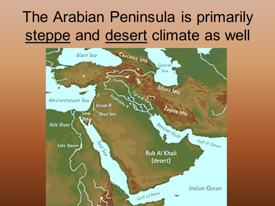 The Arabian Peninsula is primarily steppe and desert climate as well