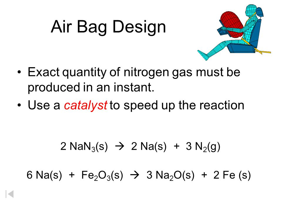 Air Bag Design Exact quantity of nitrogen gas must be produced in an instant.