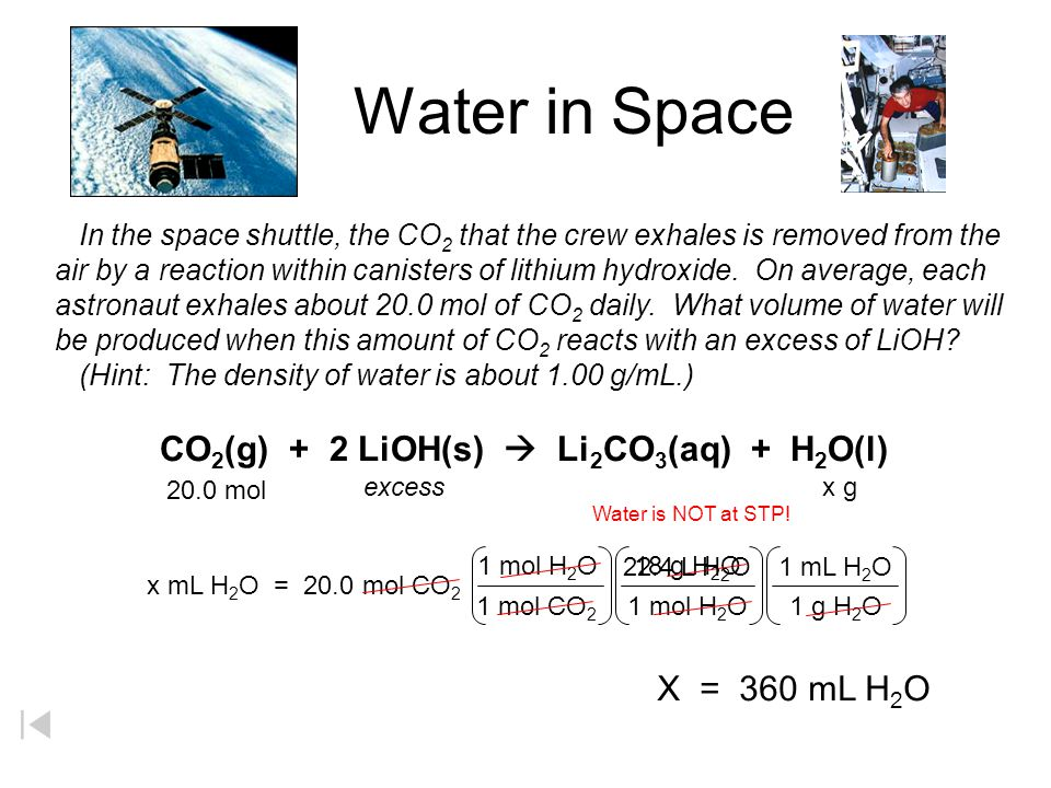 Water in Space In the space shuttle, the CO 2 that the crew exhales is removed from the air by a reaction within canisters of lithium hydroxide.