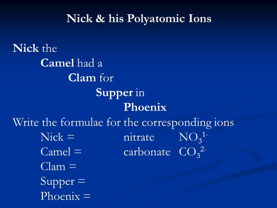 Nick & his Polyatomic Ions Nick the Camel had a Clam for Supper in Phoenix Write the formulae for the corresponding ions Nick =nitrateNO 3 1- Camel =carbonateCO 3 2- Clam = Supper = Phoenix =