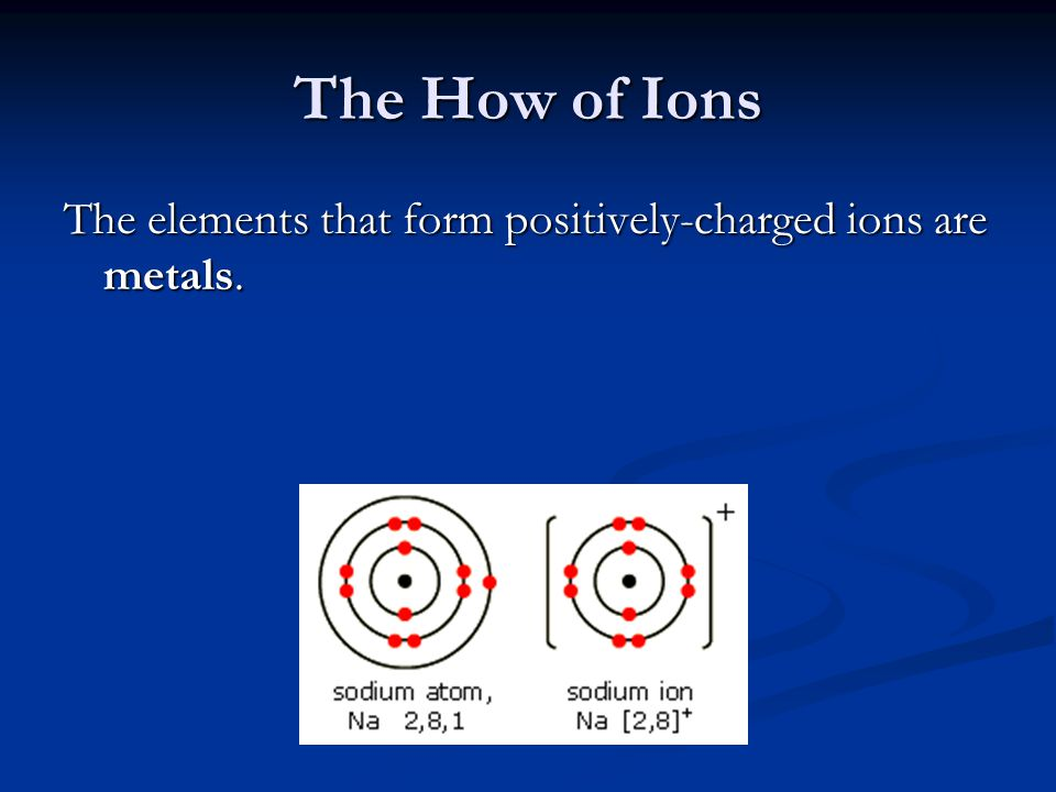 The How of Ions The elements that form positively-charged ions are metals.