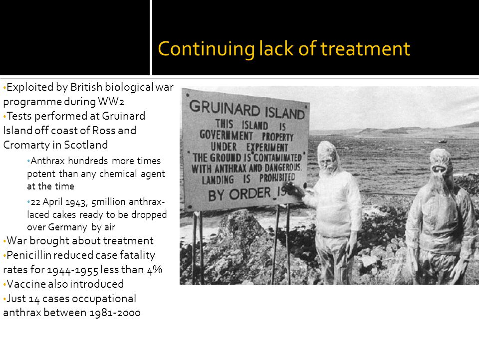 Continuing lack of treatment Exploited by British biological war programme during WW2 Tests performed at Gruinard Island off coast of Ross and Cromarty in Scotland Anthrax hundreds more times potent than any chemical agent at the time 22 April 1943, 5million anthrax- laced cakes ready to be dropped over Germany by air War brought about treatment Penicillin reduced case fatality rates for 1944-1955 less than 4% Vaccine also introduced Just 14 cases occupational anthrax between 1981-2000